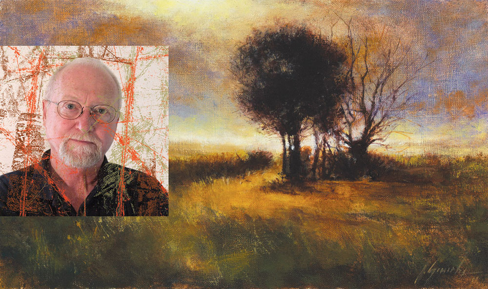 image of John Gamache and one of his paintings